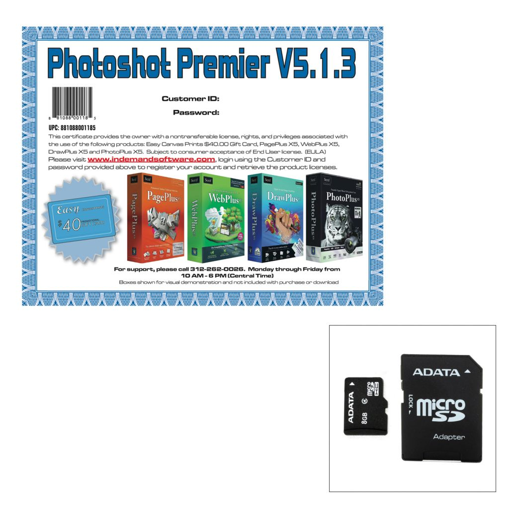 446-671 - 8GB, 16GB or 32GB Micro SD Card & Adapter w/ Photoshot Premier Software