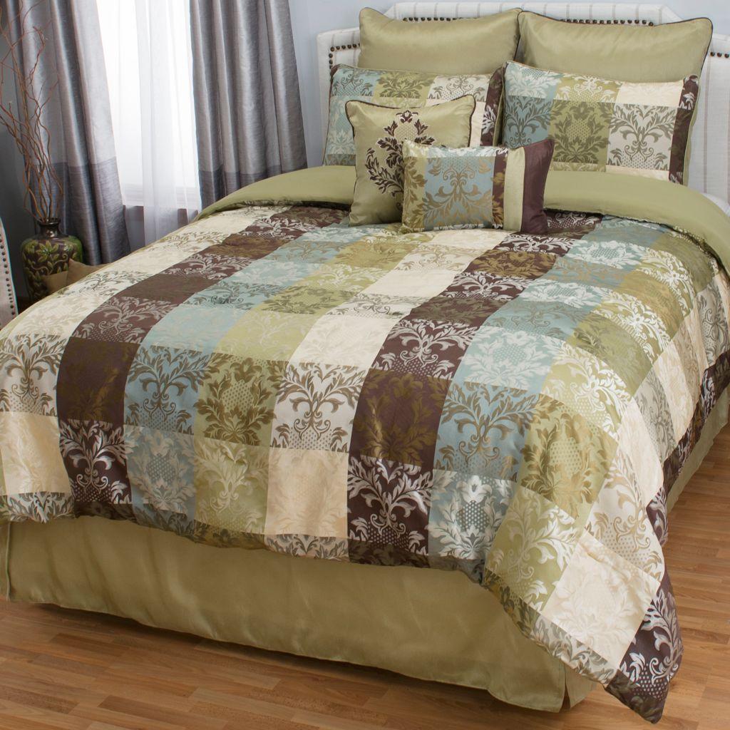 446-675 - North Shore Linens™ Microfiber Floral Print Eight-Piece Bedding Ensemble