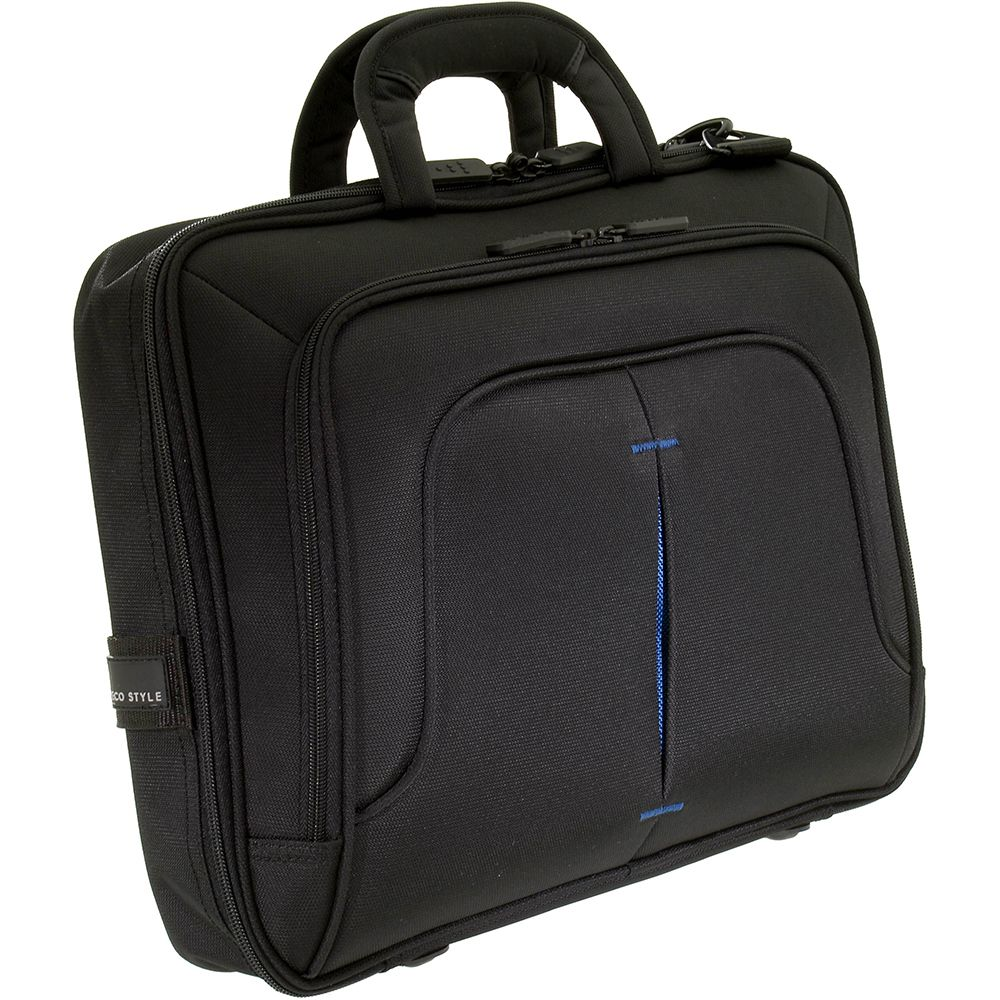 446-879 - TechPro Top Handle Black & Blue Laptop Case w/ Tablet Pocket