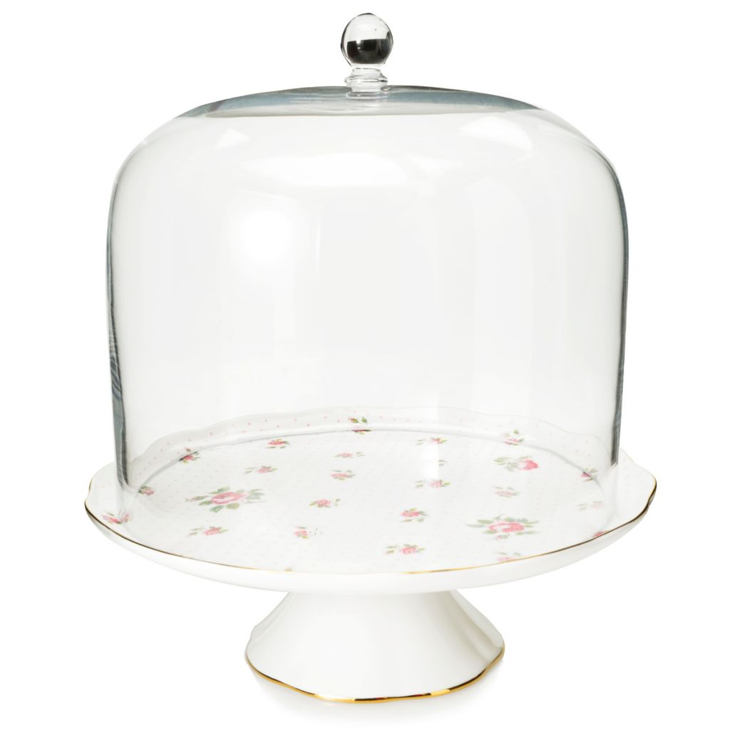 446-889 - Royal Albert® New Country Roses Two-Piece Bone China Cake Stand w/ Dome Cover Set
