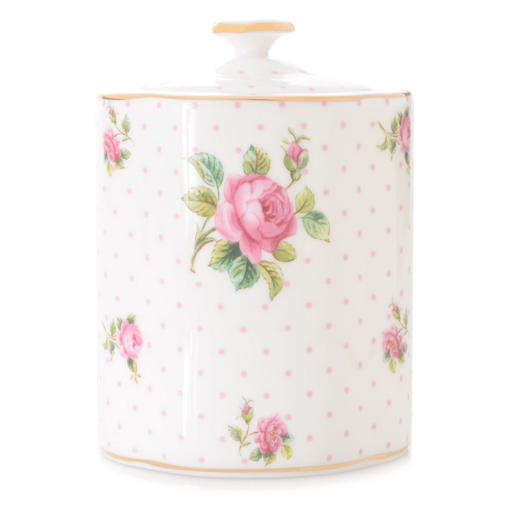 "446-890 - Royal Albert® New Country Roses 5"" Bone China 22K Gold Plated Tea Caddy w/ Lid"