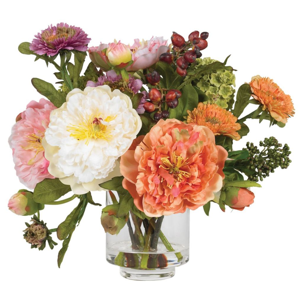 "446-915 - 10"" Peony Liquid Illusion Silk Flower Arrangement"