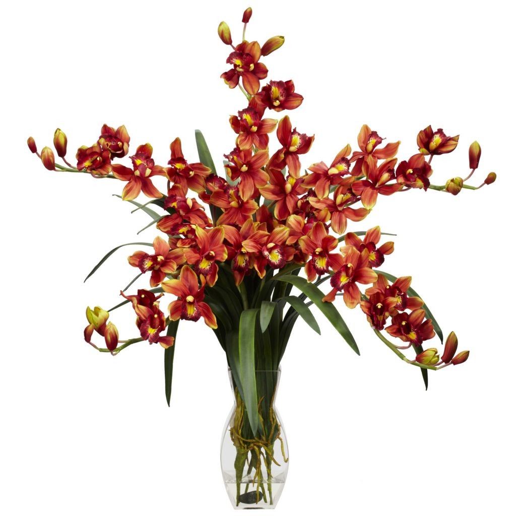 "446-959 - 31"" Cymbidium Orchid Silk Flower Arrangement"