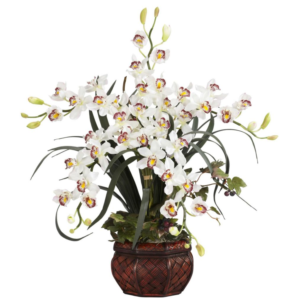 "446-962 - 30"" Cymbidium Silk Arrangement w/ Decorative Vase"