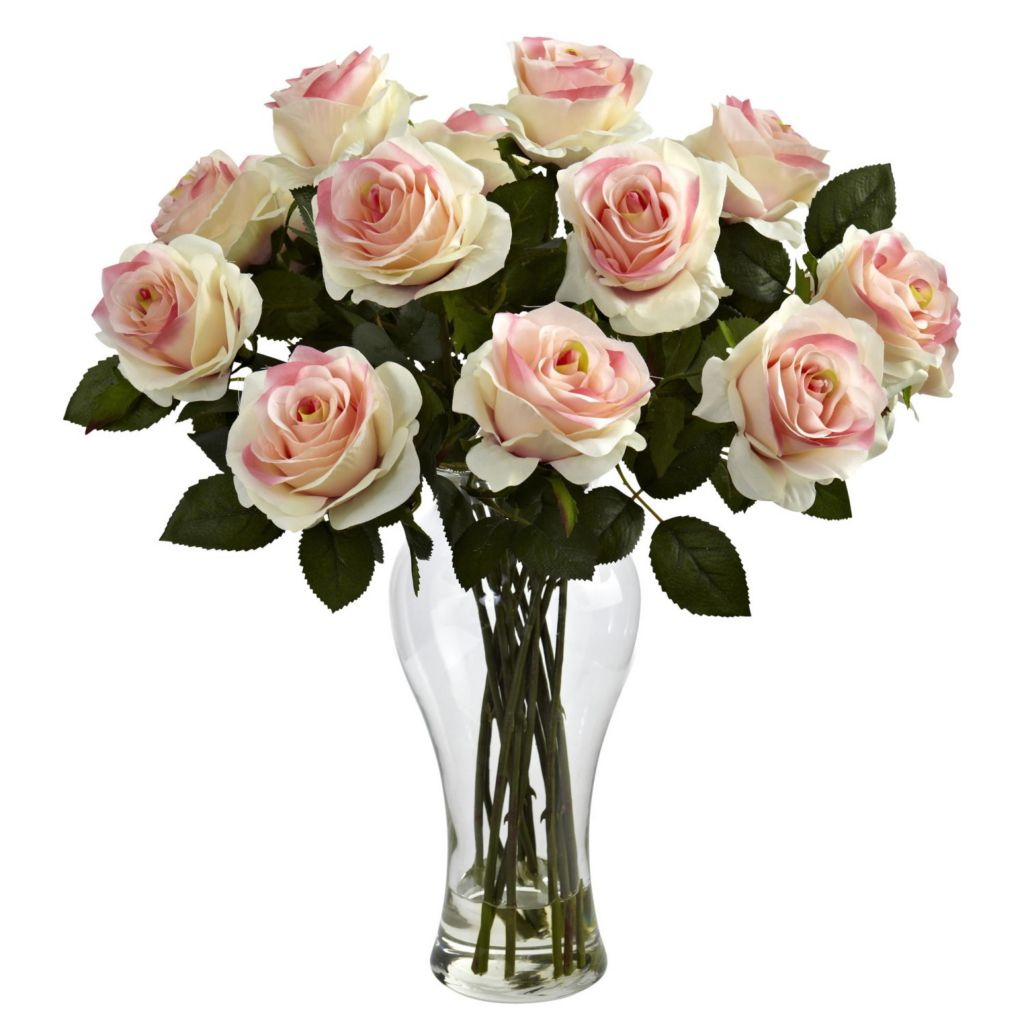 "446-966 - 18"" Artificial Blooming Roses w/ Vase"