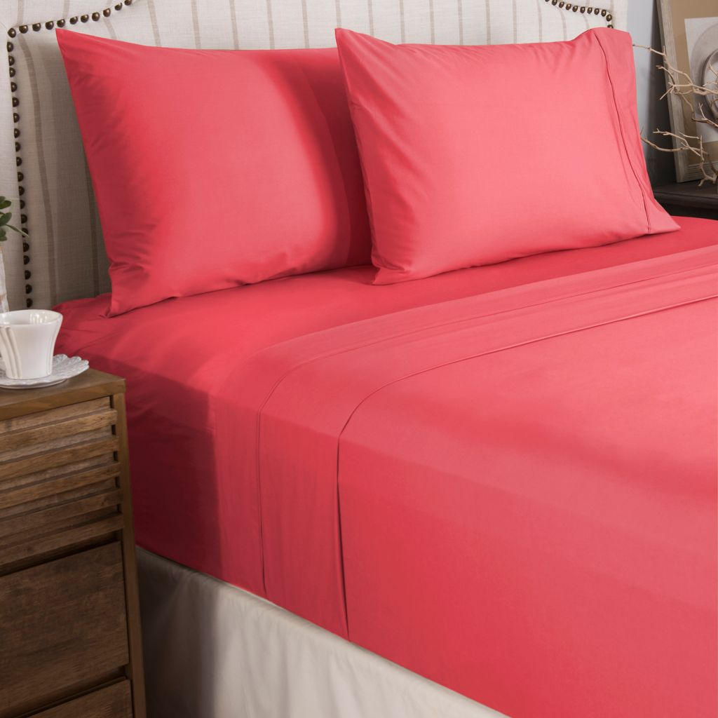 446-971 - North Shore Linens™ 300TC 100% Cotton Percale Four-Piece Sheet Set