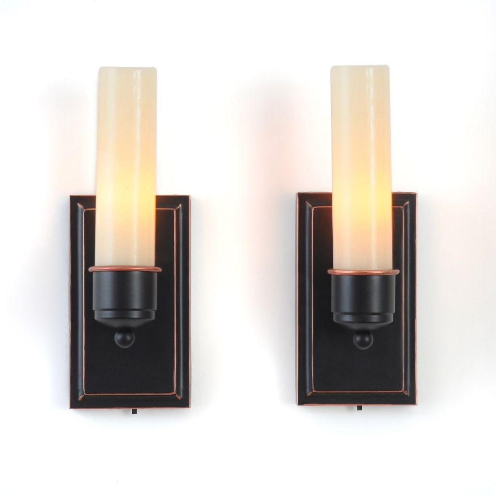 "446-990 - CandleTek Set of Two 8"" Wall Sconces w/ Flameless Candles"