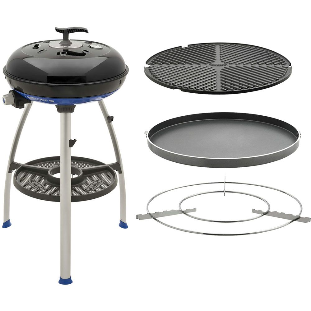 447-032 - Cadac Carri Chef 2 Portable Gas Grill w/ Chef Pan, BBQ Top, Griddle, Stand & Travel Bag