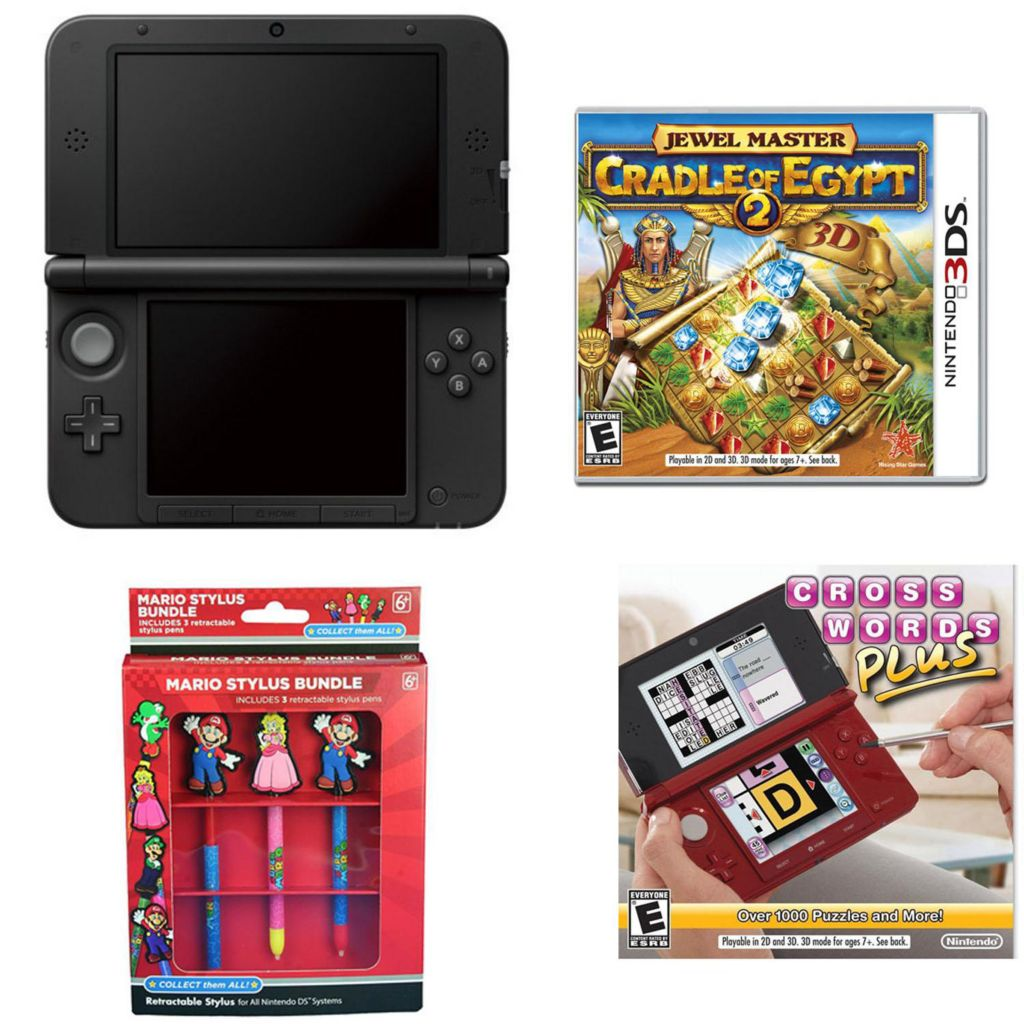 447-058 - Nintendo 3DS XL Black Gaming System Bundle w/ Two Games & Mario Stylus Pack