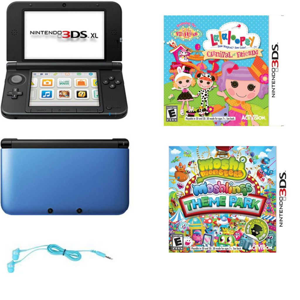 447-059 - Nintendo 3DS XL Blue/Black Gaming System Bundle w/ Two Games & Earbuds