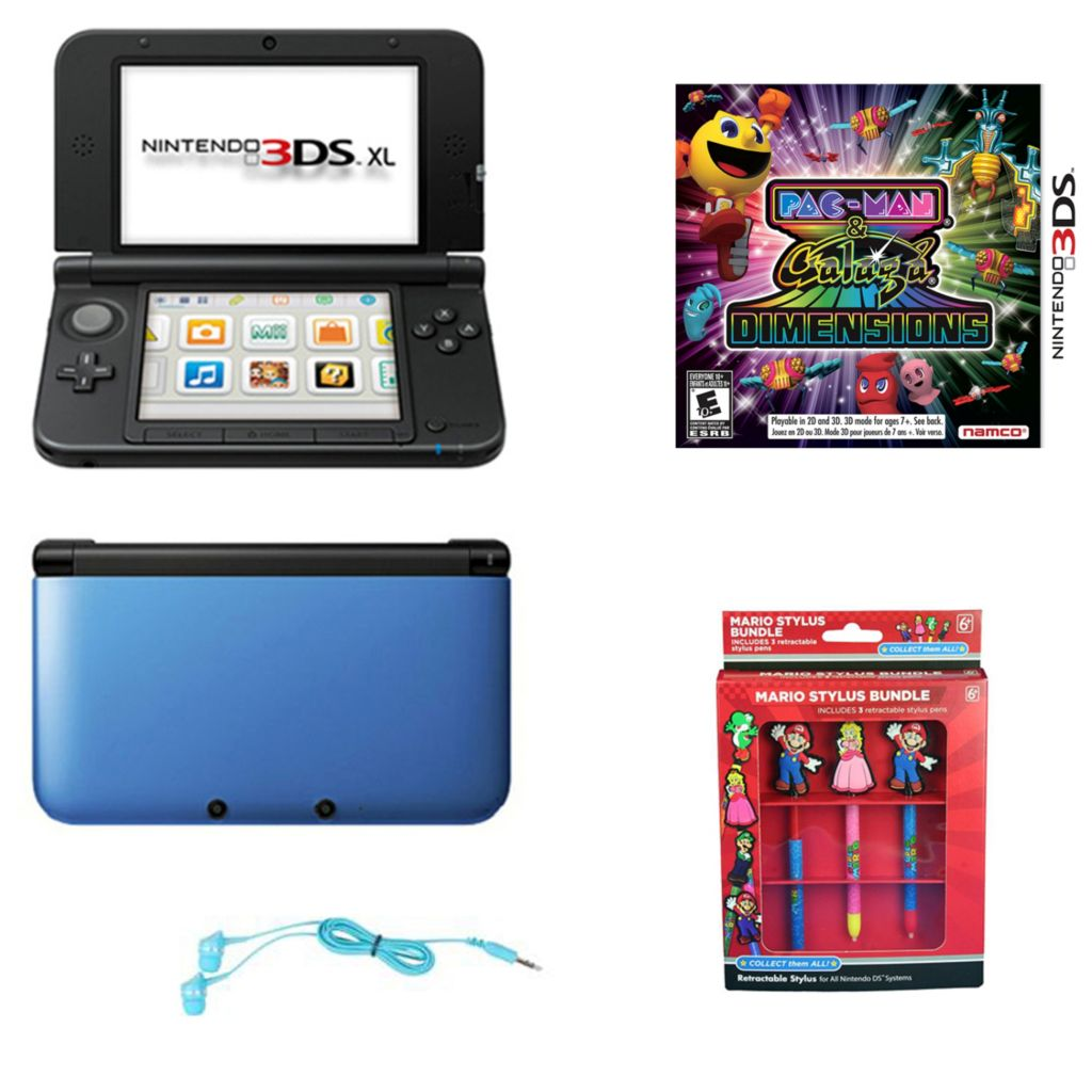 447-060 - Nintendo 3DS XL Blue/Black Gaming System Bundle w/ Pac-Man & Galaga Game & Accessories