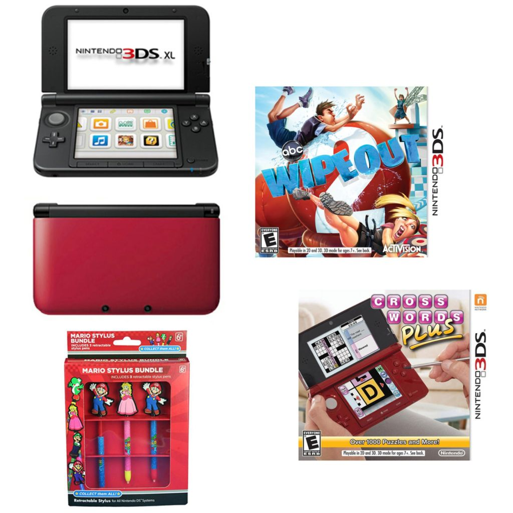447-061 - Nintendo 3DS XL Red/Black Gaming System Bundle w/ Two Games & Mario Stylus Pack