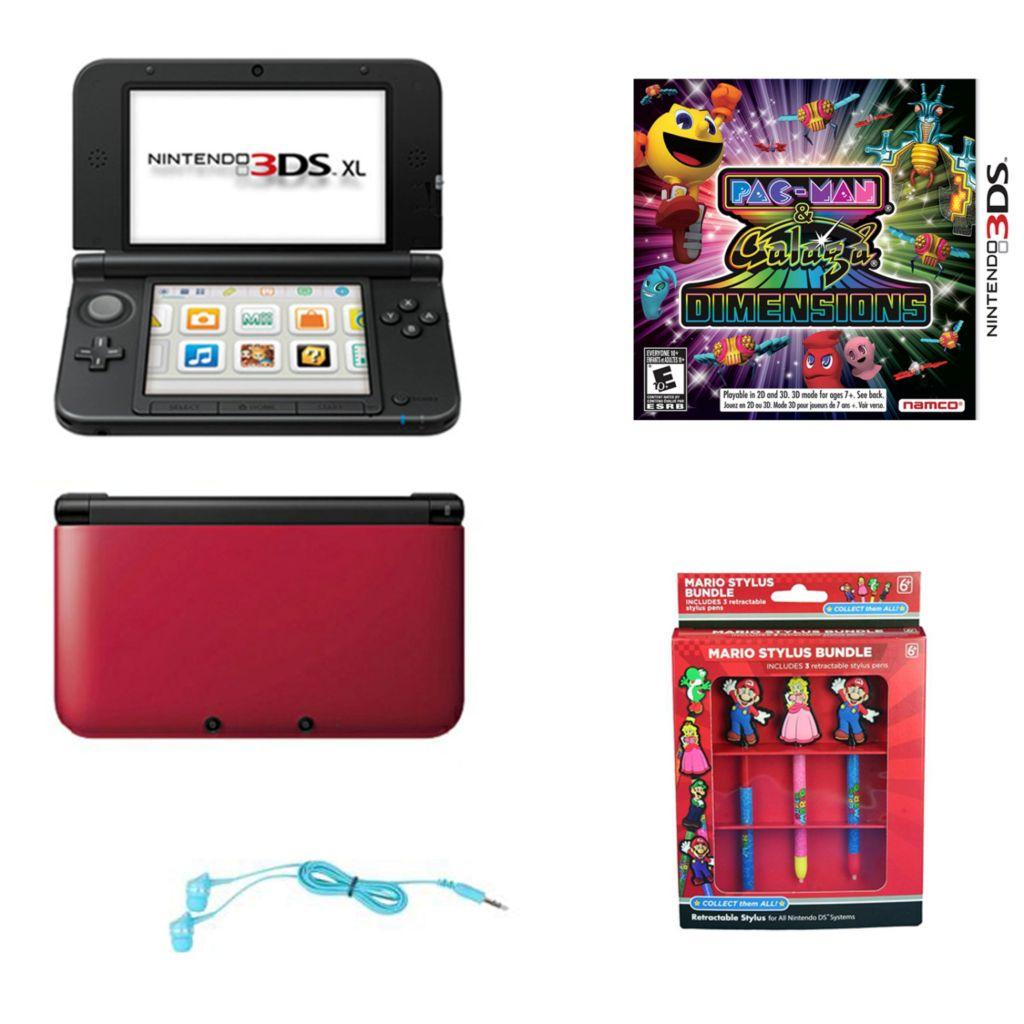 447-062 - Nintendo 3DS XL Red/Black Gaming System Bundle w/ Pac-Man & Galaga Game & Accessories