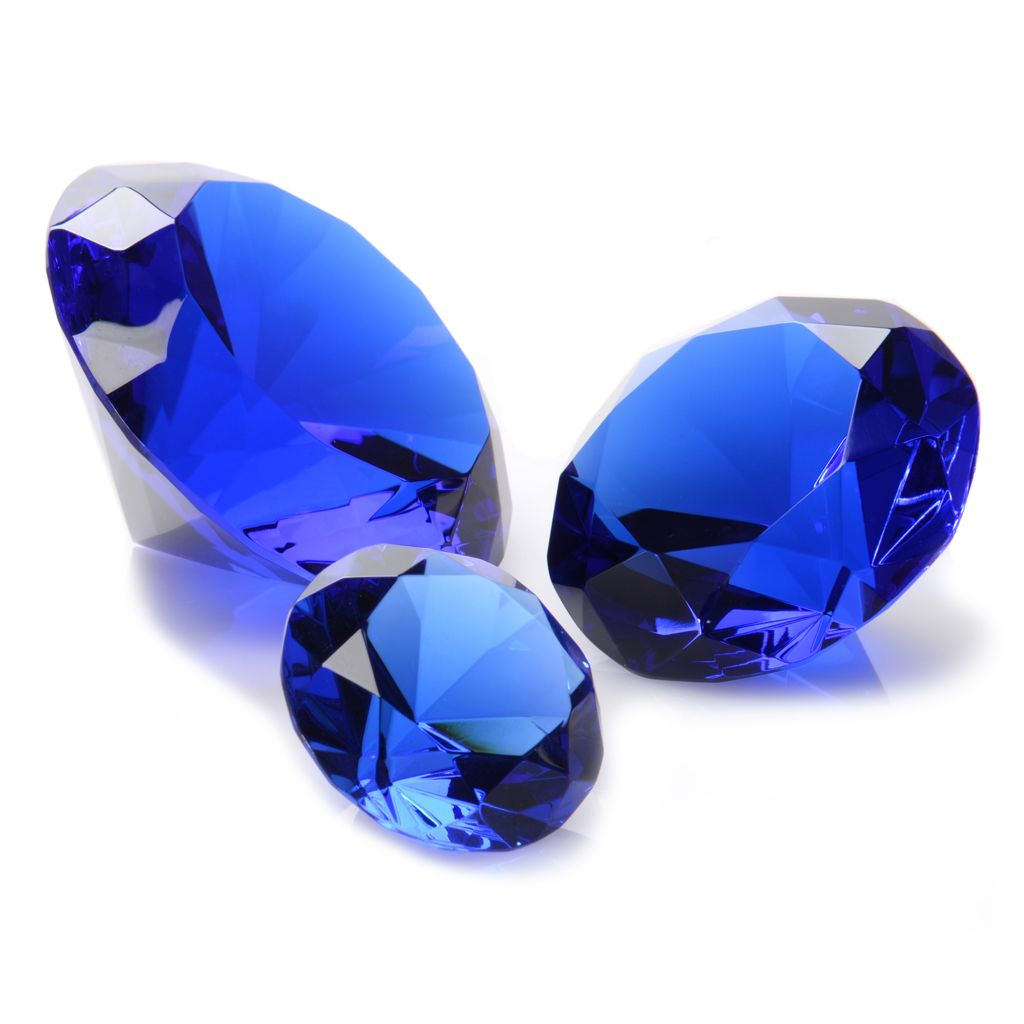 447-093 - Sorelle® Set of Three Crystal Glass Brilliant Cut Diamond Shaped Paperweights
