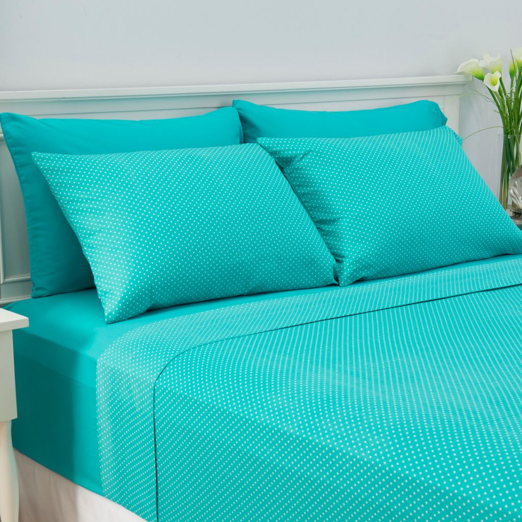 447-096 - Cozelle® Set of Two Microfiber Solid & Dot Pillowcase Pairs