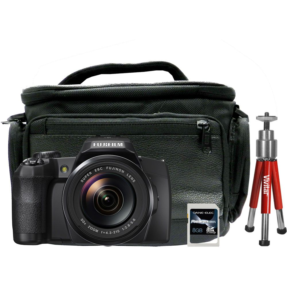 447-111 - Fujifilm FinePix S1 16MP Digital Camera w/ Built-in Wi-Fi, 8GB Card, Tripod & Bag