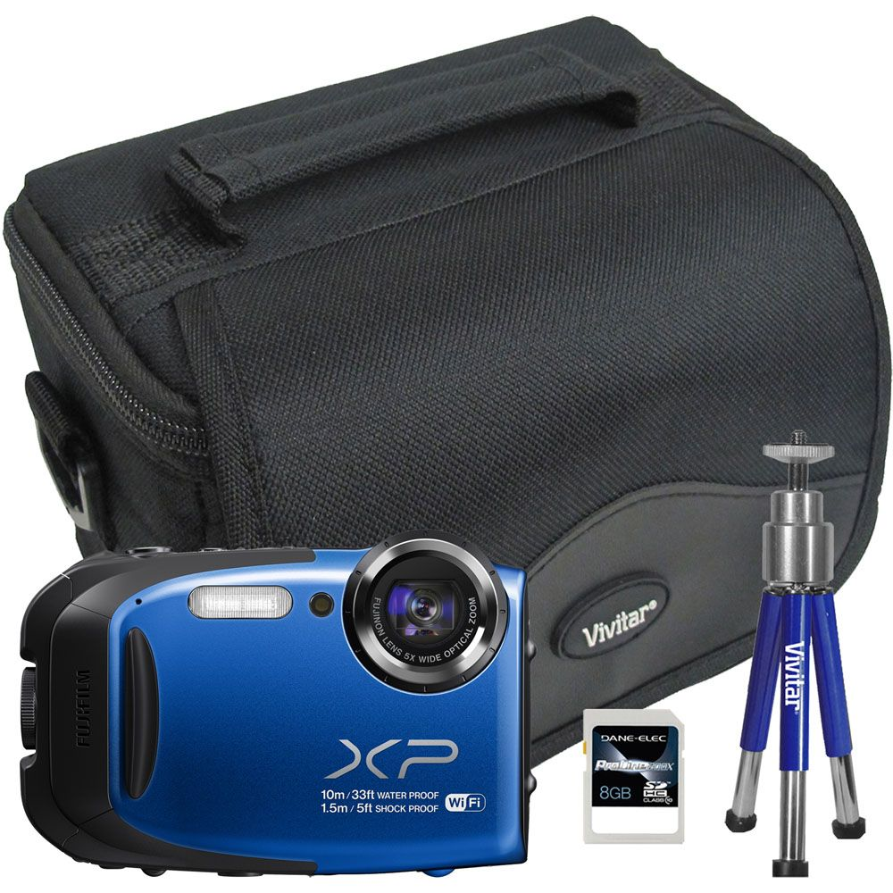 447-121 - Fujifilm FinePix 16MP All-Weather Digital Camera w/ Wi-Fi, Bag, Tripod & 8GB Memory Card