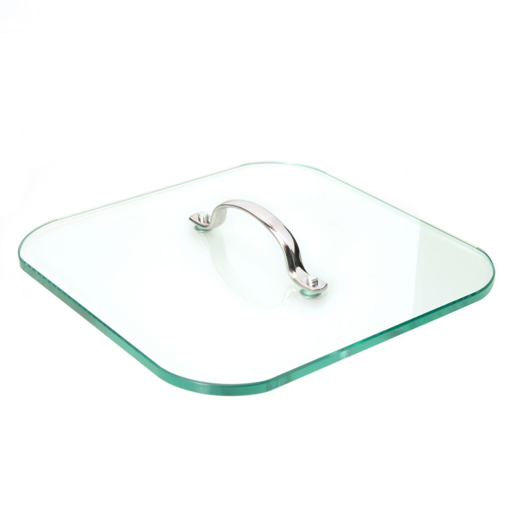 """447-156 - Kevin Dundon Signature 9.25"""" Square Glass Press w/ Stainless Steel Handle"""