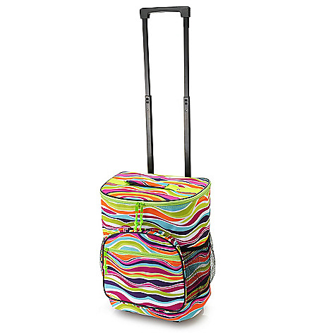 447-227 - Home Essentials Multi Compartment Insulated & Printed Rolling Travel Cooler