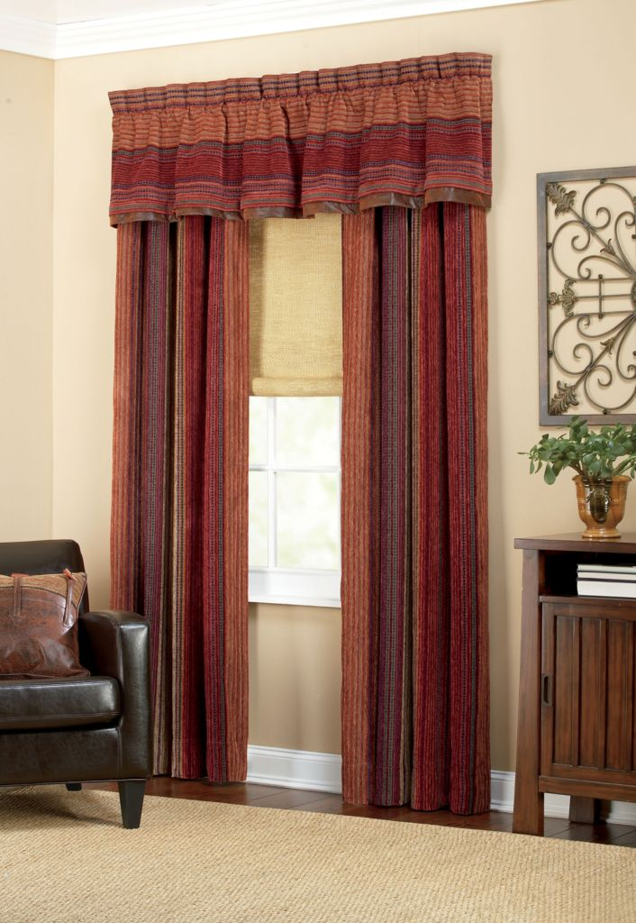 "447-261 - Croscill 88"" x 17"" Striped Window Valance"