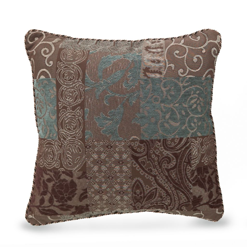 "447-269 - Croscill 18"" x 18"" Patchwork Jacquard Decorative Pillow"