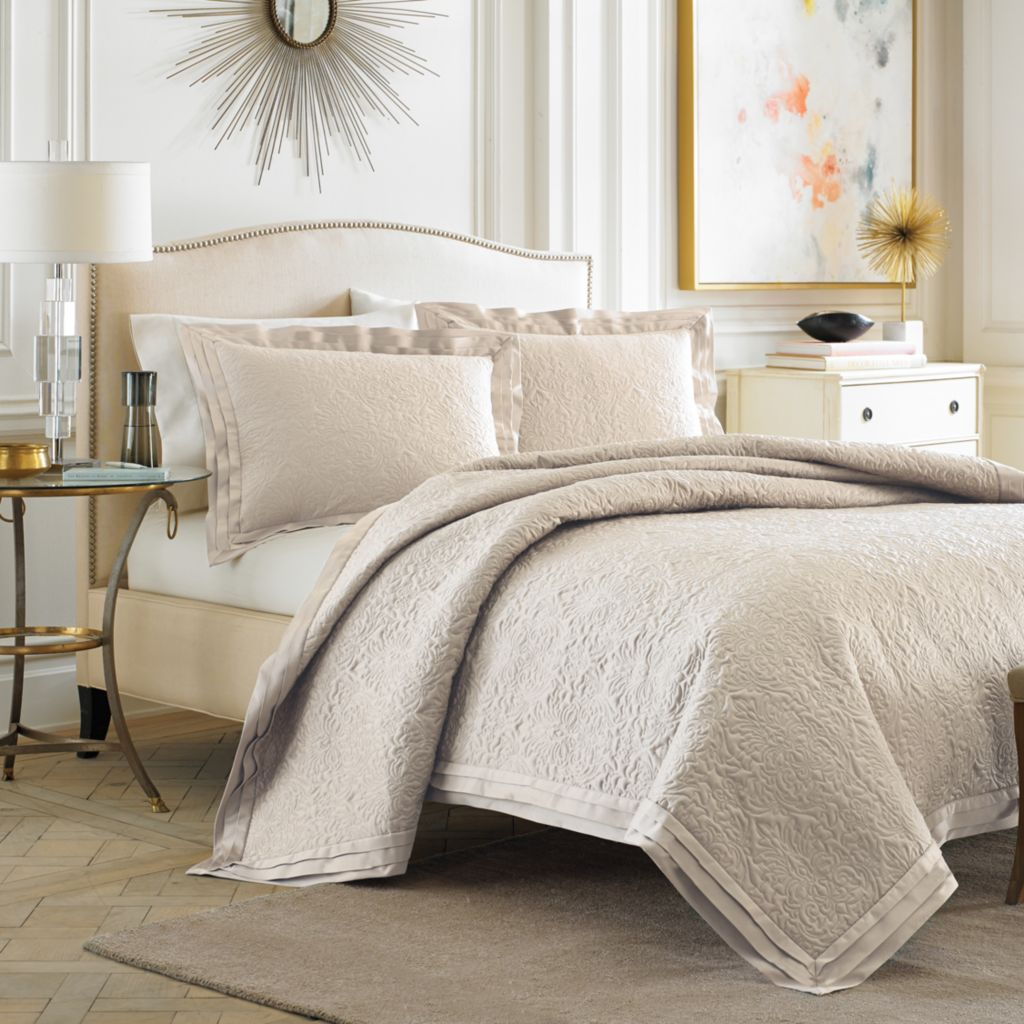 447-270 - Croscill Damask Ivory Coverlet