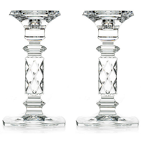 447-342 - Marquis by Waterford Brixton 8'' Crystal Diamond Cut Pillar Candlestick Pair