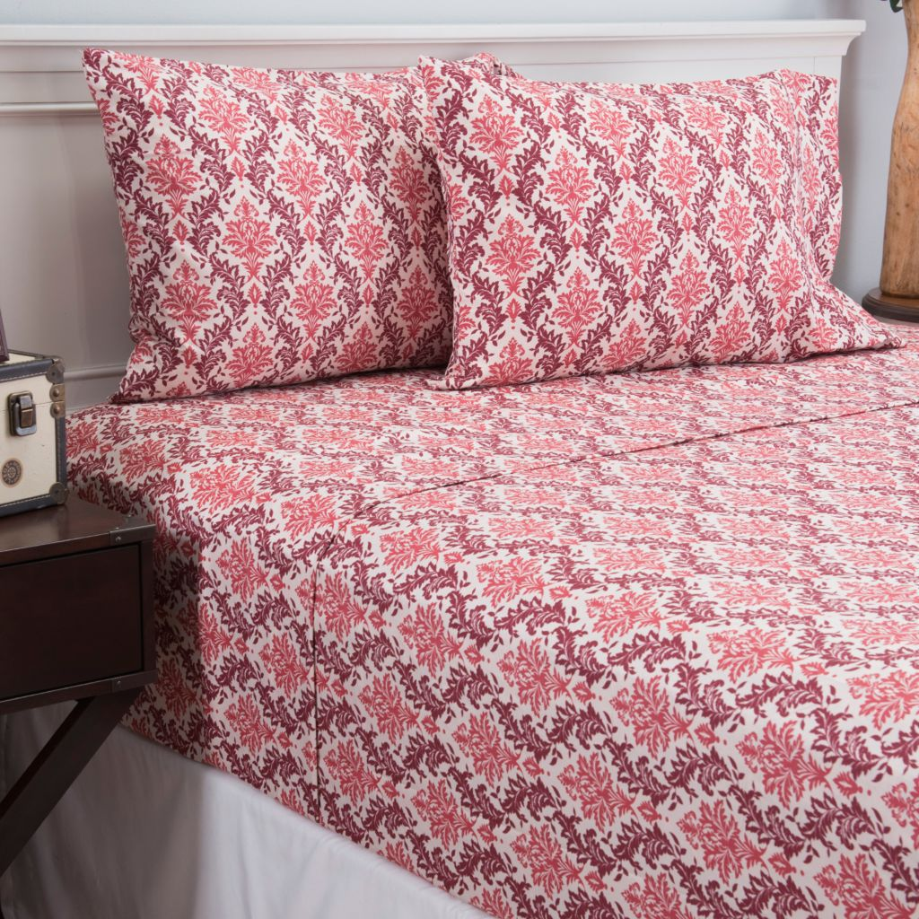 447-344 - Cozelle® Microfiber Leaf Print Four-Piece Sheet Set