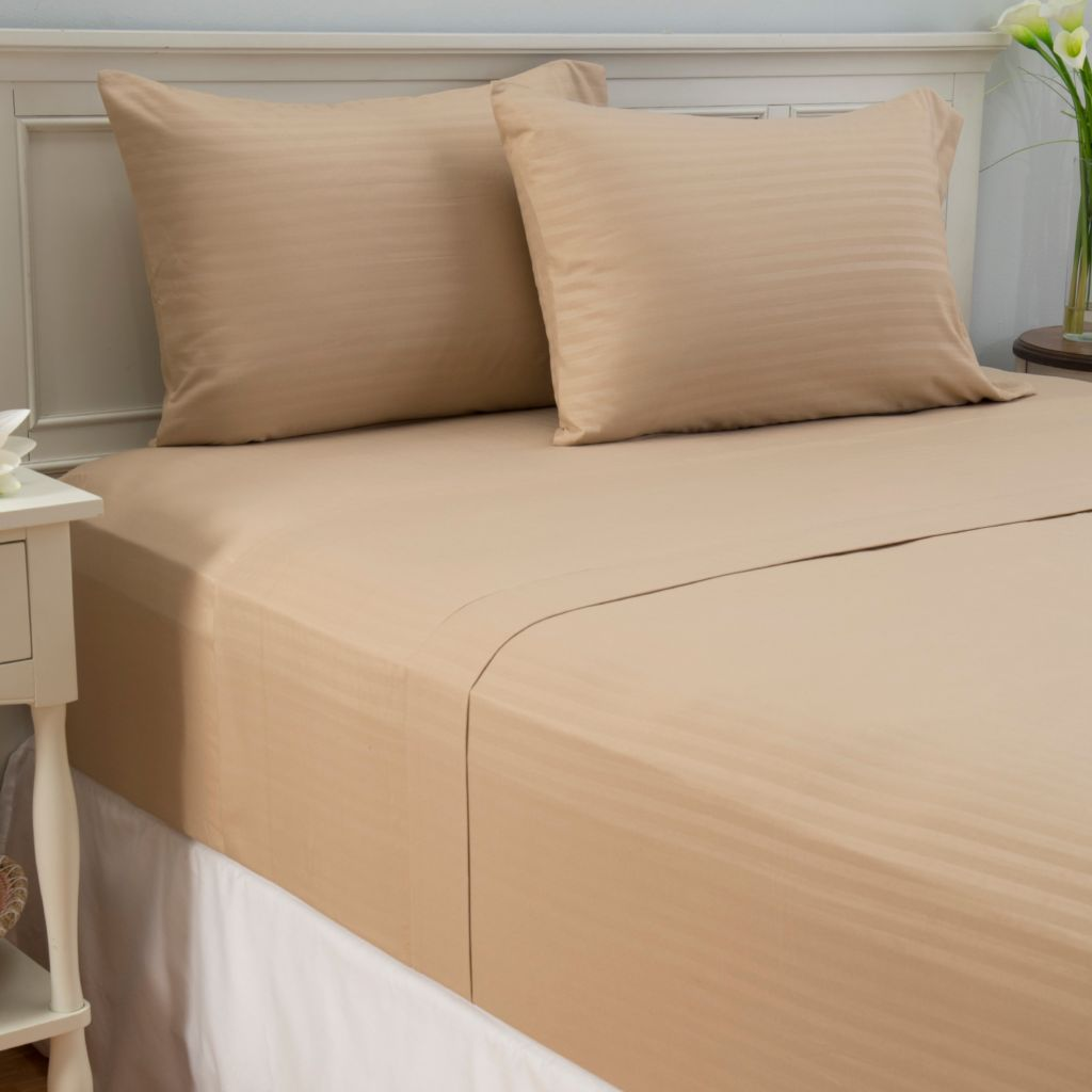 447-345 - Cozelle® Microfiber Embossed Stripe Four-Piece Sheet Set