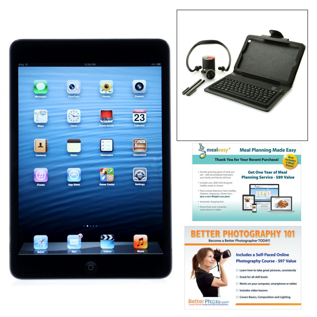 447-349 - Apple® iPad® Mini 16GB Dual-Core Tablet w/ Bluetooth® Speaker, Keyboard & Headphones