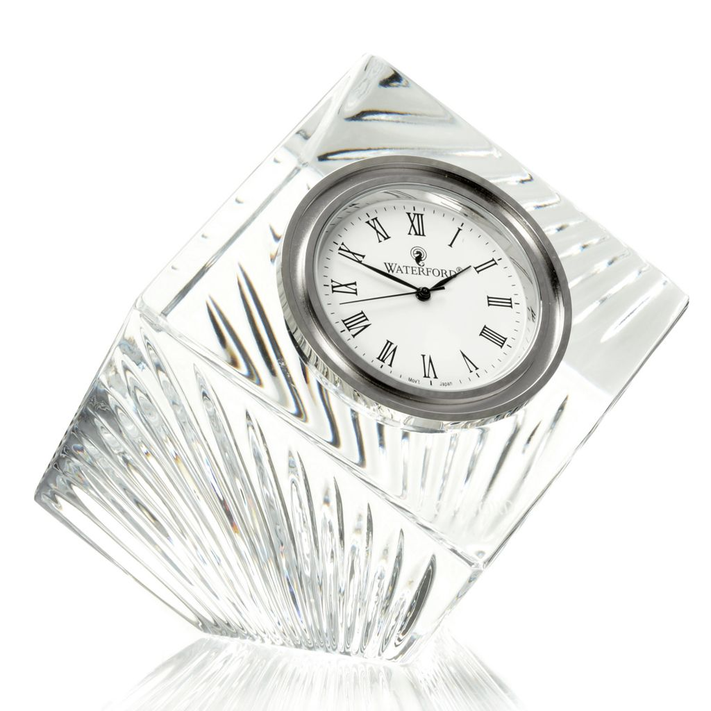 "447-363 - Waterford® Crystal 2.5"" Geometrical Wedge Cut Meridian Clock"