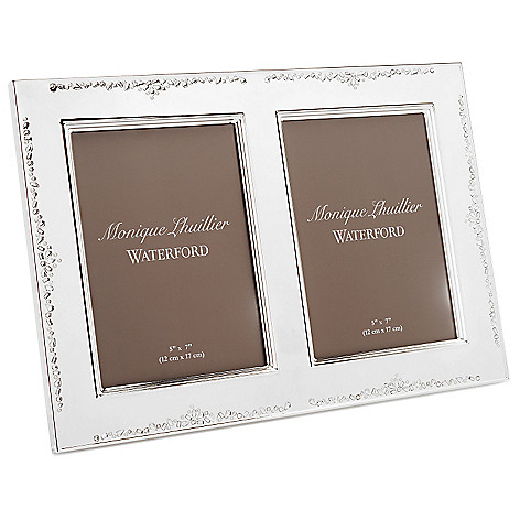 447-369 - Waterford® Monique Lhuillier 5'' x 7'' Silver Lacquer Coated Double Frame