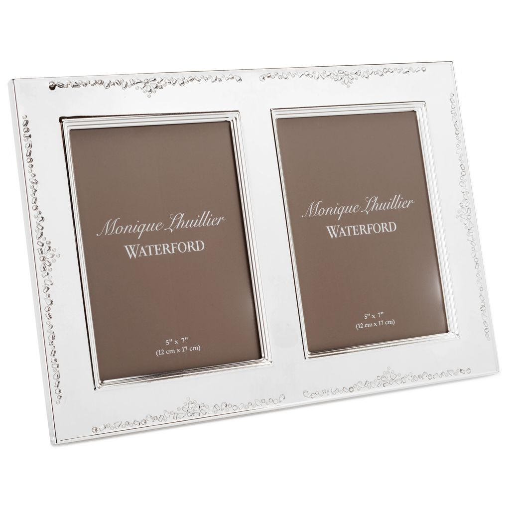 "447-369 - Waterford® Monique Lhuillier 5"" x 7"" Silver Lacquer Coated Double Frame"