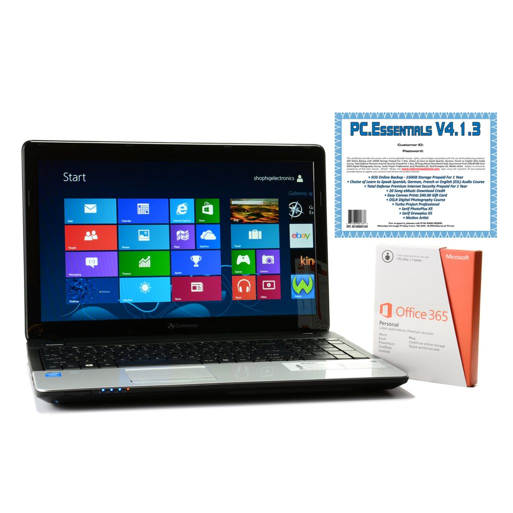 "447-436 - Gateway 15.6"" LED 4GB RAM/500GB HDD Windows® 8 Wi-Fi Notebook w/ Office & Software"