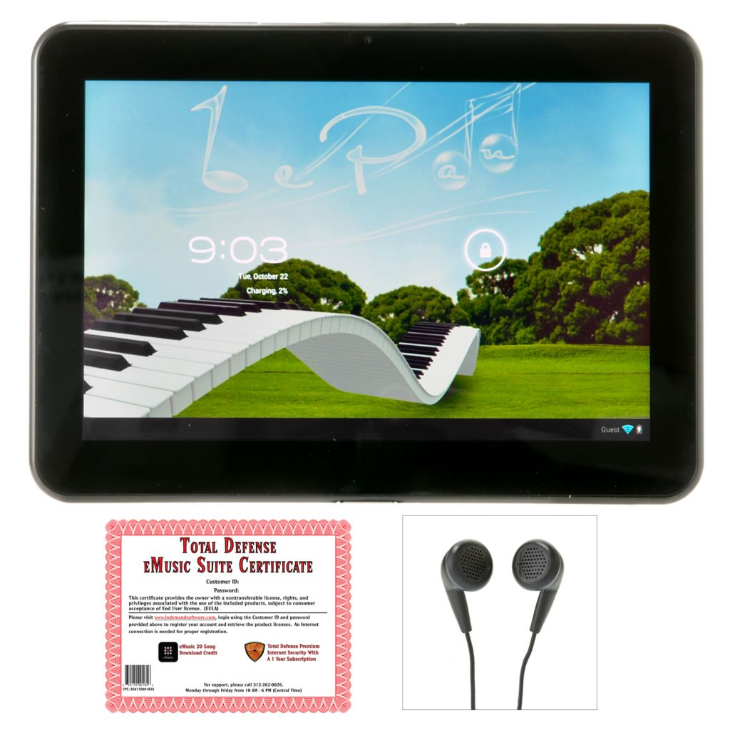 "447-532 - Le Pan 10.1"" 16GB Google Certified Bluetooth® Quad-Core Tablet w/ Stereo Earbuds & eMusic Suite"