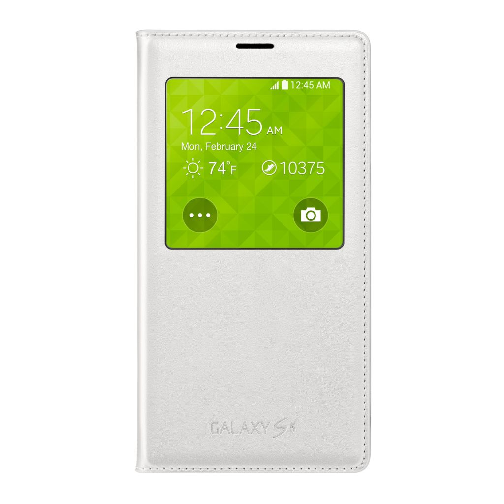 447-894 - Samsung Galaxy S5 Wireless Charging S-View White Flip Cover