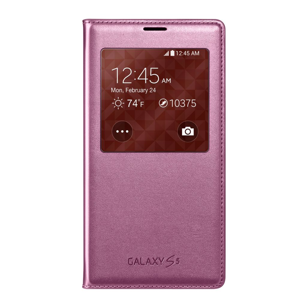 447-900 - Samsung Galaxy S5 S-View Pink Flip Cover
