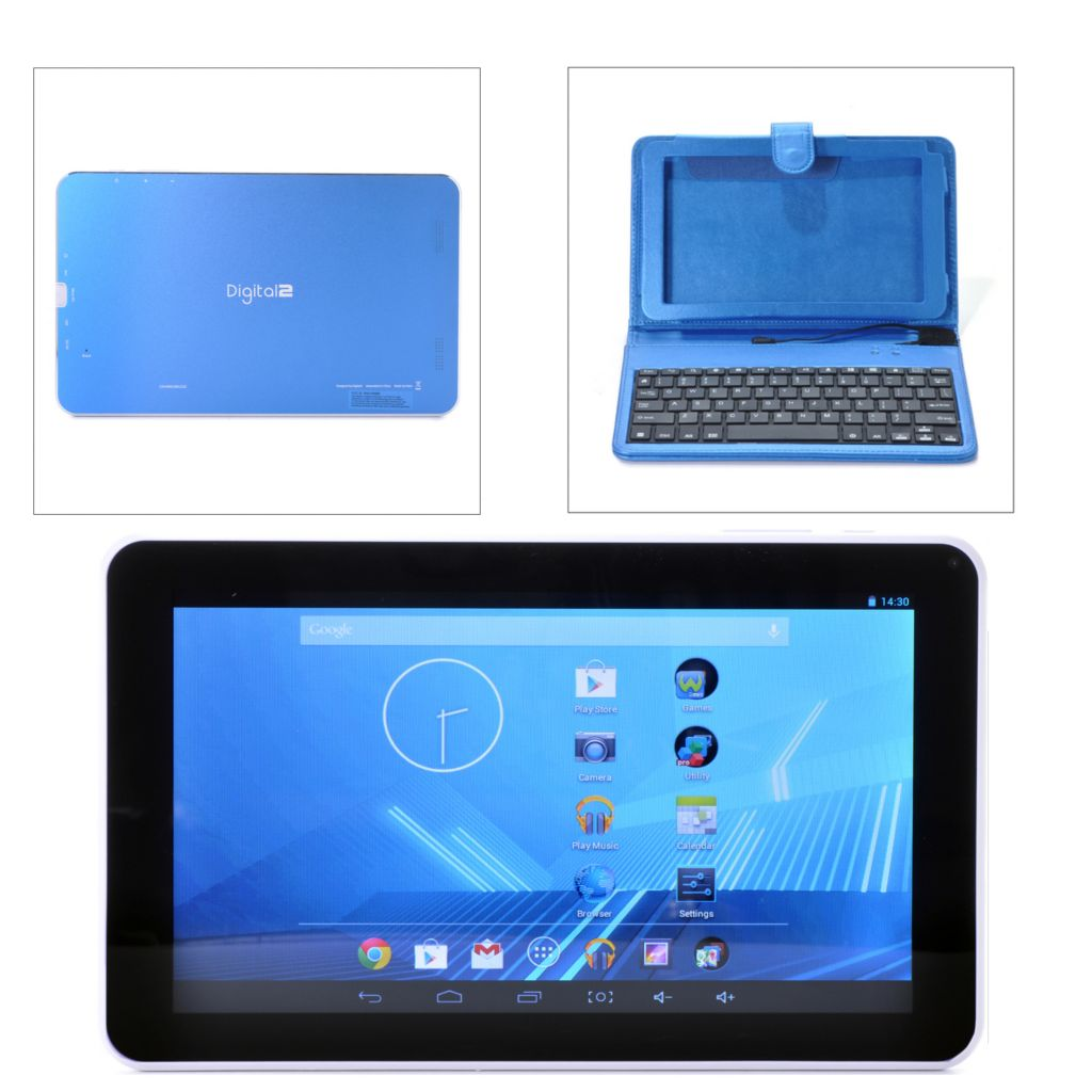 "448-066 - D2™ 9"" Android™ 4.2 Google Certified Quad-Core Wi-Fi Tablet w/ Wired Keyboard Case"