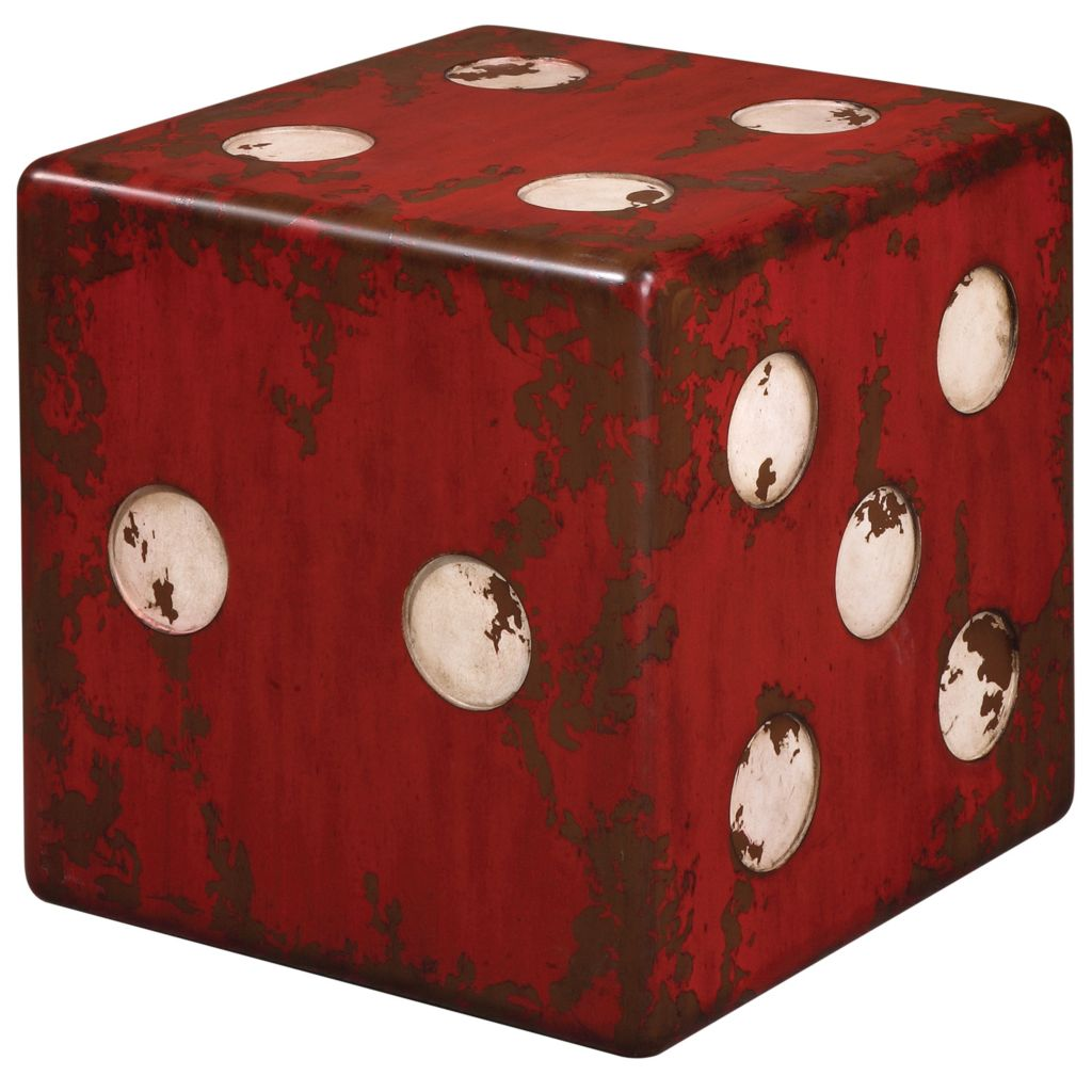 "448-094 - Uttermost 18.75"" Red Dice Accent Table"