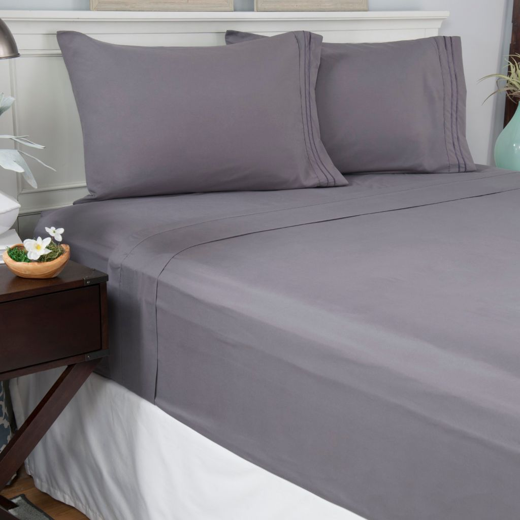448-131 - Cozelle® Microfiber Marrow Stitch Hem Four-Piece Sheet Set