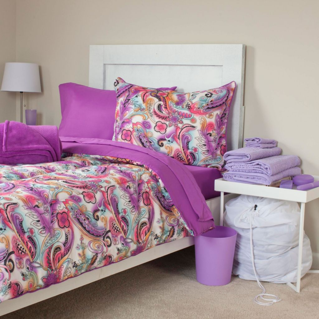 448-157 - Lavish Home Natalie 22-Piece Dorm Set w/ Reversible Comforter, Sheets, Towels & Toiletries