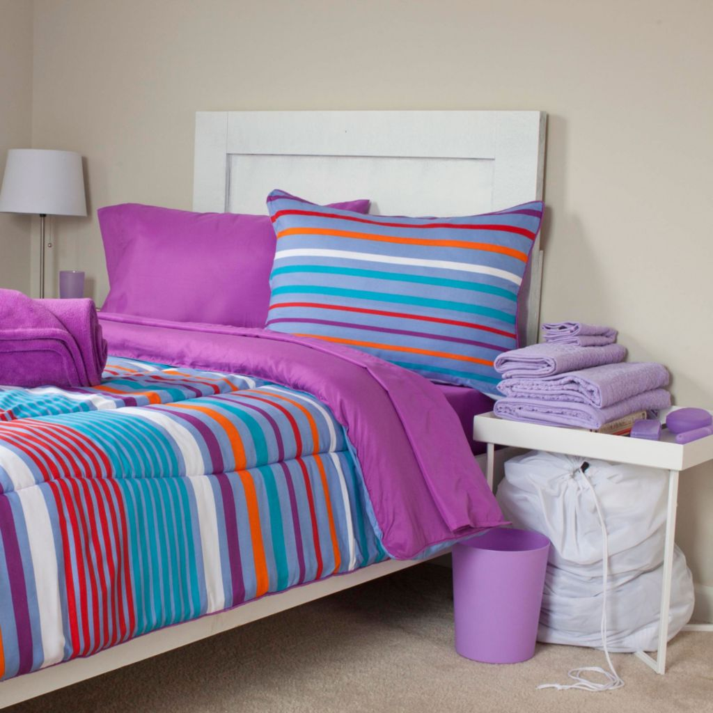 448-161 - Lavish Home Capri 22-Piece Dorm Set w/ Reversible Comforter, Sheets, Towels & Toiletries