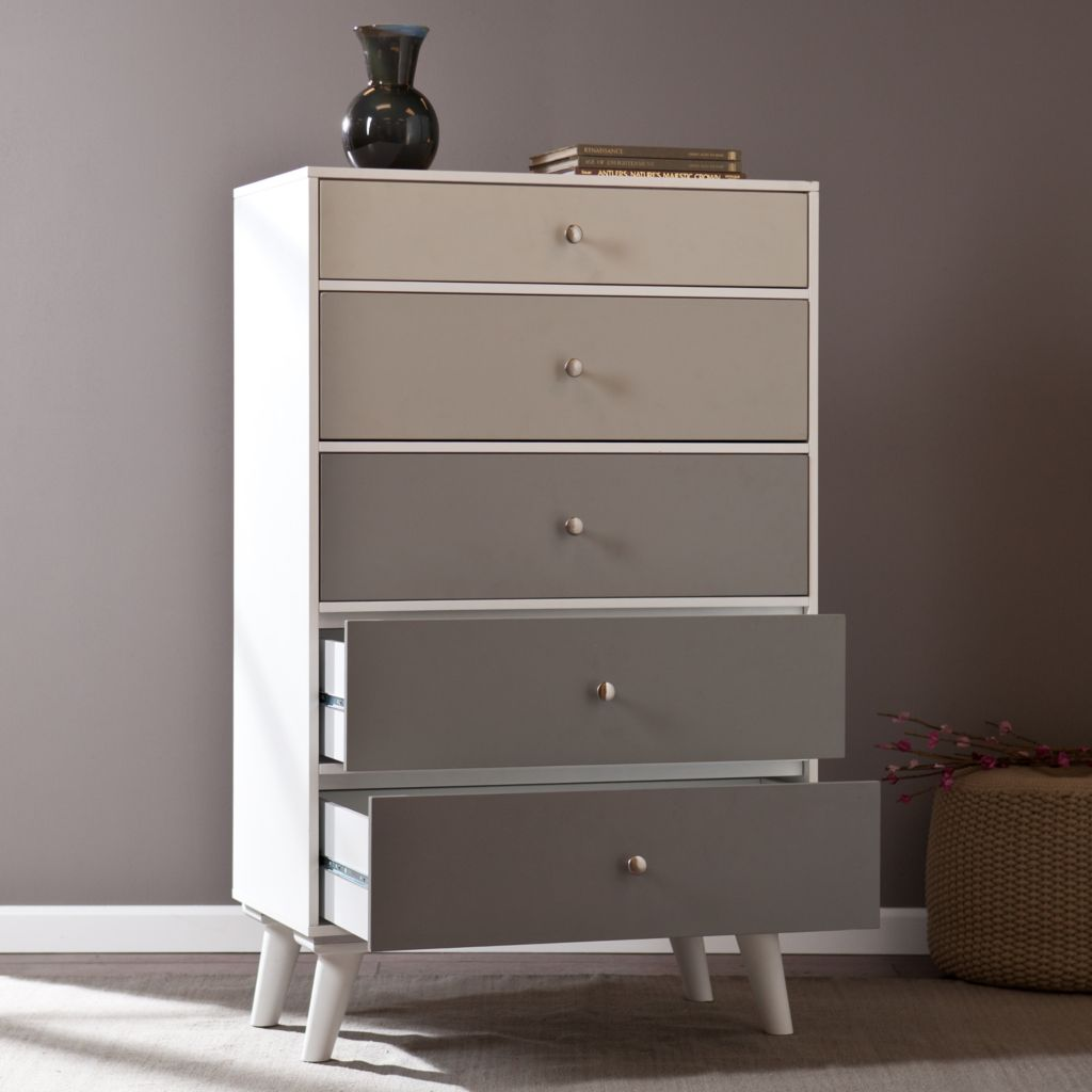 "448-180 - Richmond 52.25"" Color Block Linen Covered Five-Drawer Dresser"