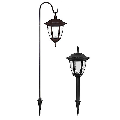 448-298 - EZ Solar® Set of Two Solar LED Coach Lights w/ Shepherd's Hooks