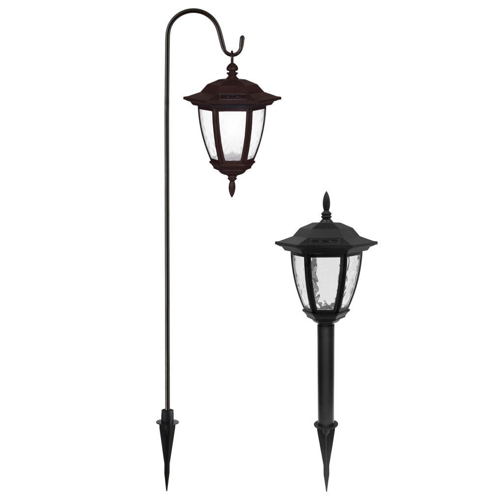 448-298 - EZ Solar® Set of Two Solar LED Coach Lights w/ Shepherd's Hooks