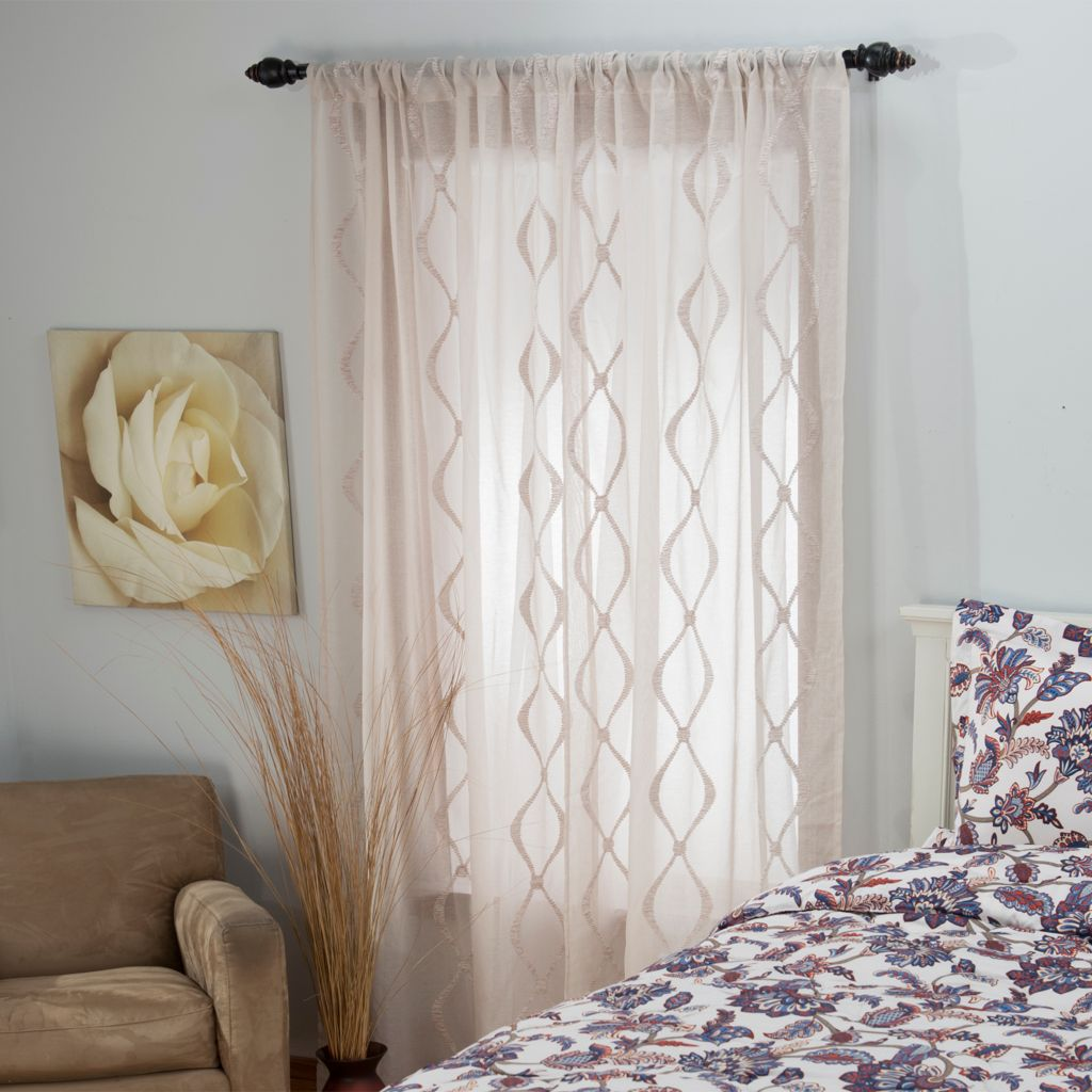 448-306 - Laura Ashley® Microfiber Embroidered Window Panel Pair