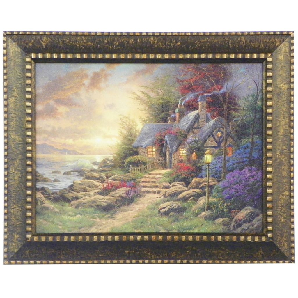 "448-382 - Thomas Kinkade ""Seaside Hideaway"" Framed Textured Print"