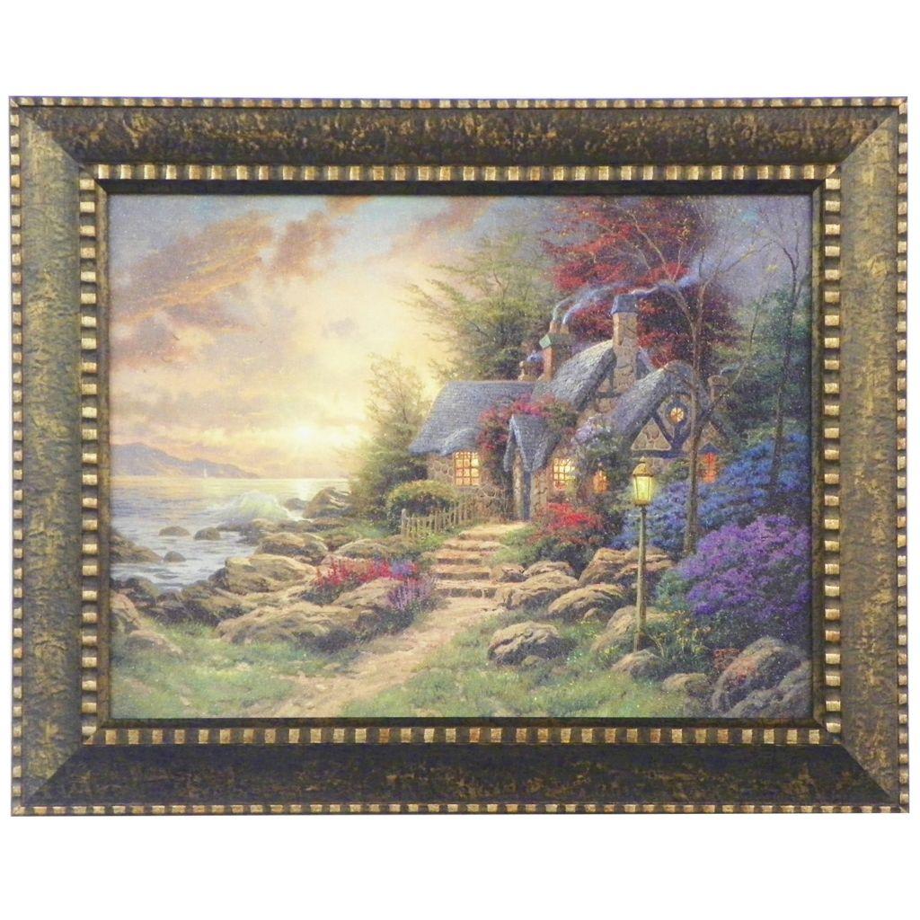 "448-382 - Thomas Kinkade ""Seaside Hideaway"" Framed Textured Print"