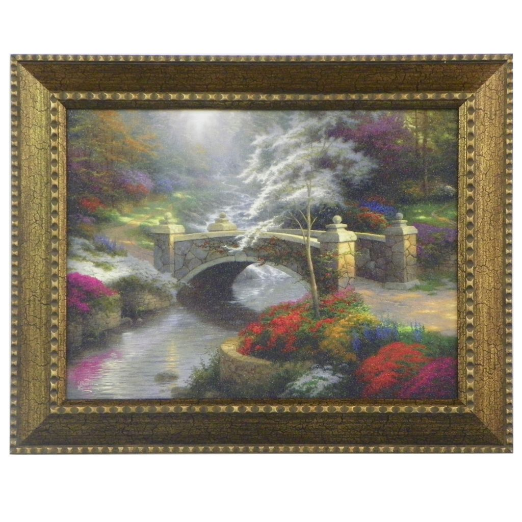 "448-383 - Thomas Kinkade ""Bridge of Hope"" Framed Textured Print"