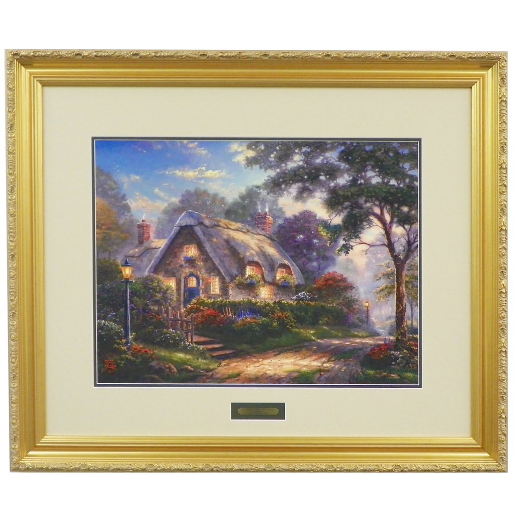 "448-386 - Thomas Kinkade ""Lovelight Cottage"" Limited Edition Framed Matte Print"